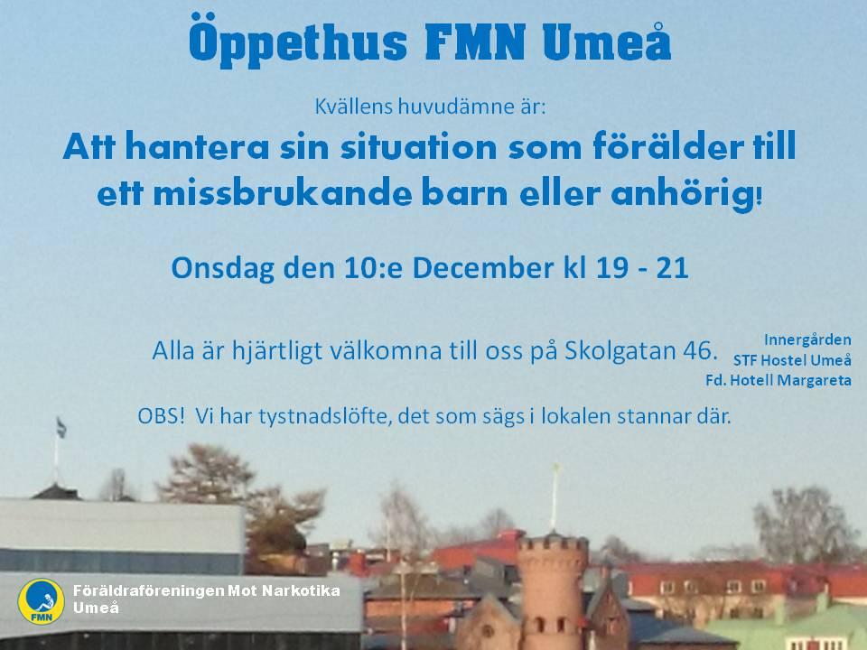 Inbjudan Öppethus 10 december FMN Umeå