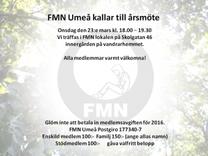 Kallelse årsmöte FMN Umeå 2016